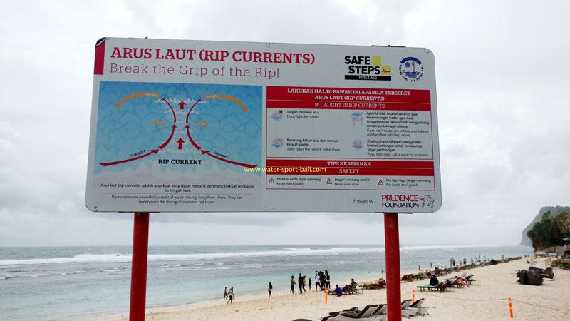 Swimming Sign In Bali Beach