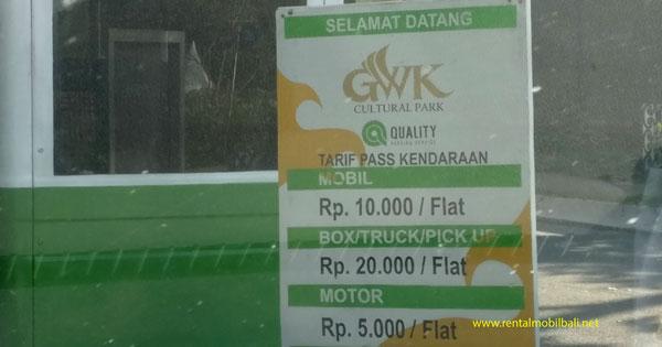 Vehicle Parking Rates at GWK Ungasan Bali